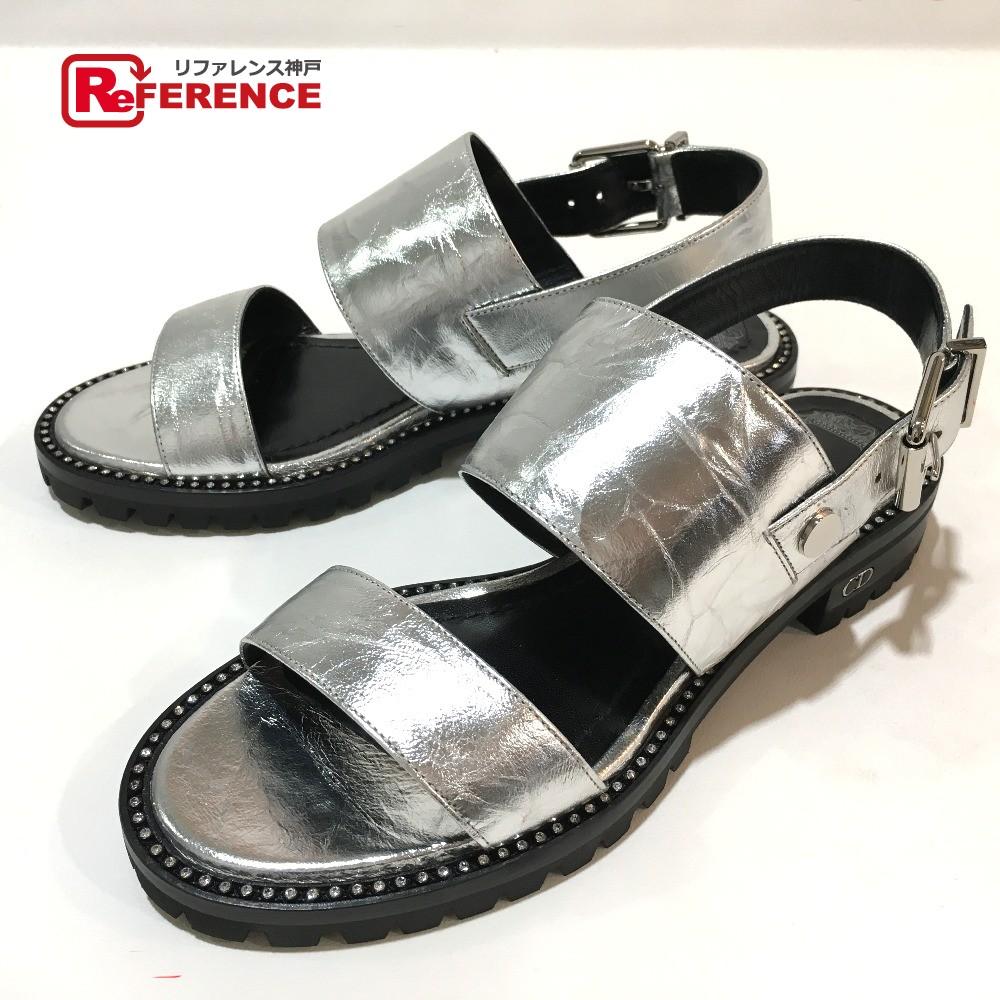 Christian Dior クリスチャンディオール KCE955CLMS092 靴 CRINKLED ラウンドラインストーン サンダル レザー シルバー レディース 未使用【中古】