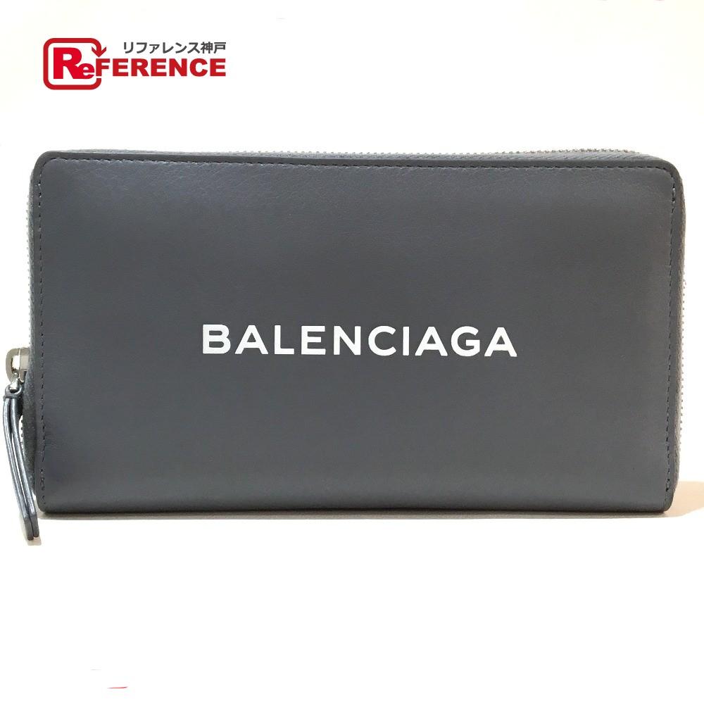 BALENCIAGA バレンシアガ 490625 メンズ レディース ロゴマーク ラウンドファスナー 長財布(小銭入れあり) レザー グレー ユニセックス 未使用【中古】