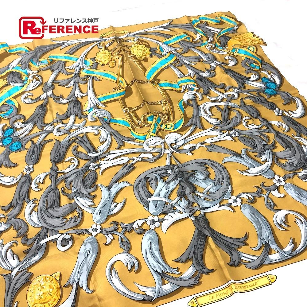 HERMES エルメス カレ 轡の気品 スカーフ シルク/ アイボリー系 レディース【中古】