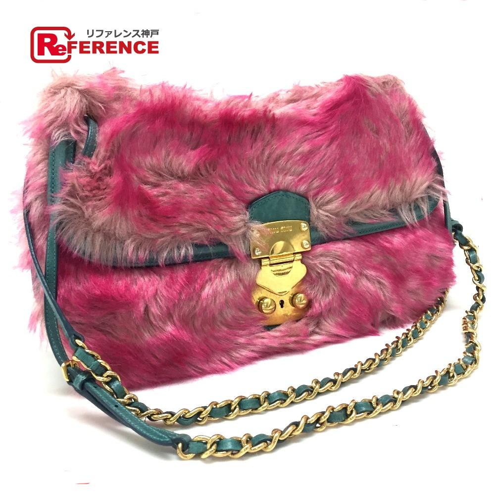 AUTHENTIC MIUMIU Double Chain Shoulder Bag Shoulder Bag Pink type Faux fur Leather  RR1780 0cf493c979fa8