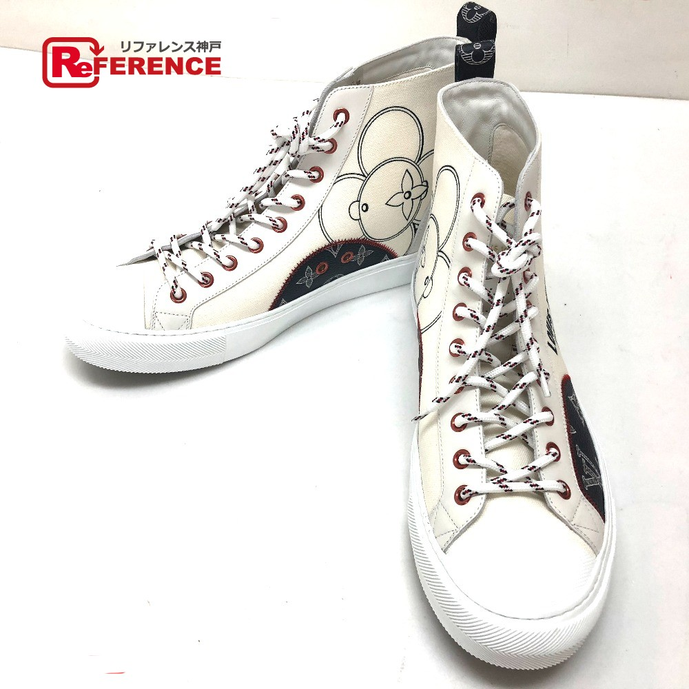 82f90bd062ad LOUIS VUITTON Louis Vuitton 1A4ARX shoes shoes higher frequency elimination  sneakers tattoo line sneakers canvas X leather   white men