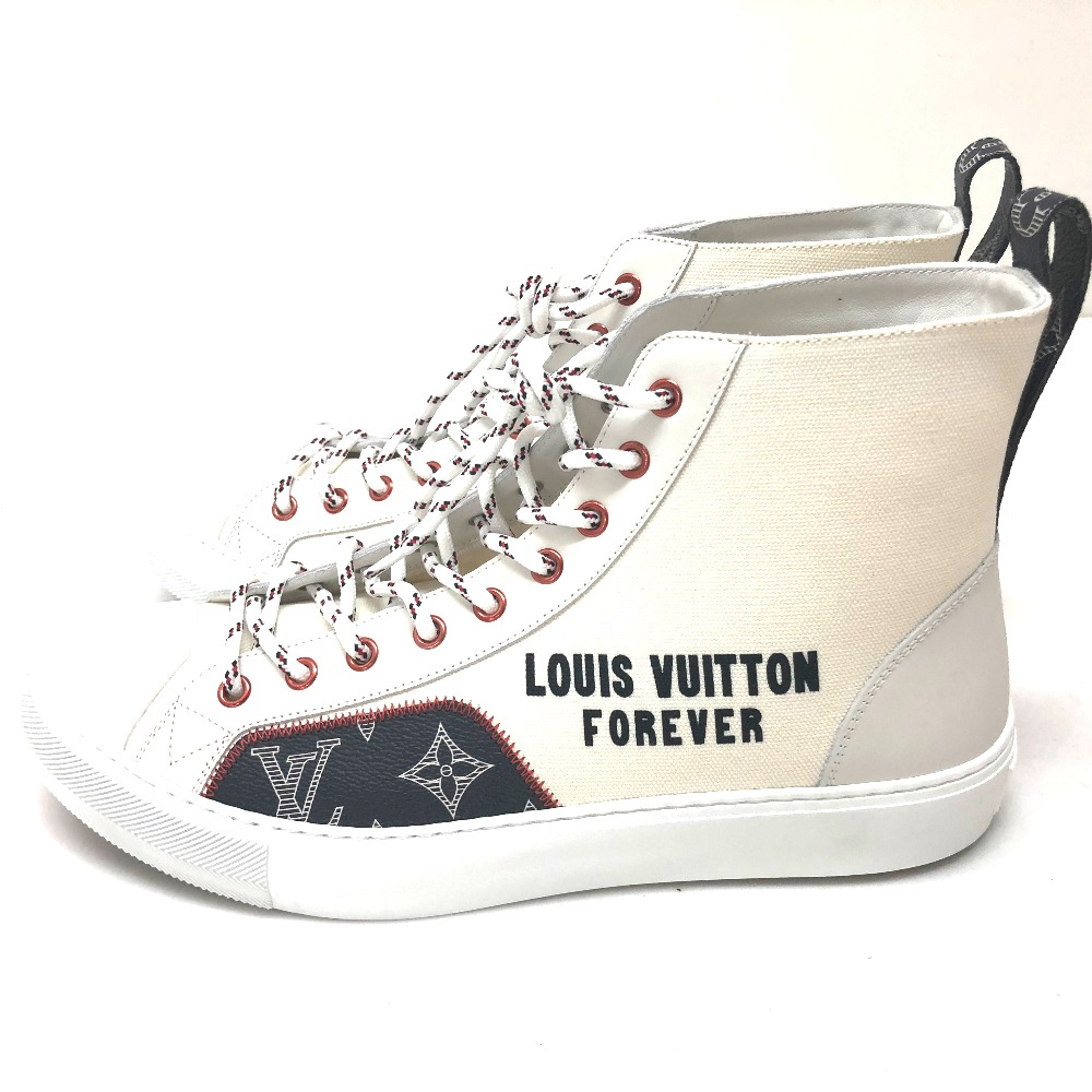 31f97db74235 LOUIS VUITTON Louis Vuitton 1A4ARX shoes shoes higher frequency elimination  sneakers tattoo line sneakers canvas X leather   white men