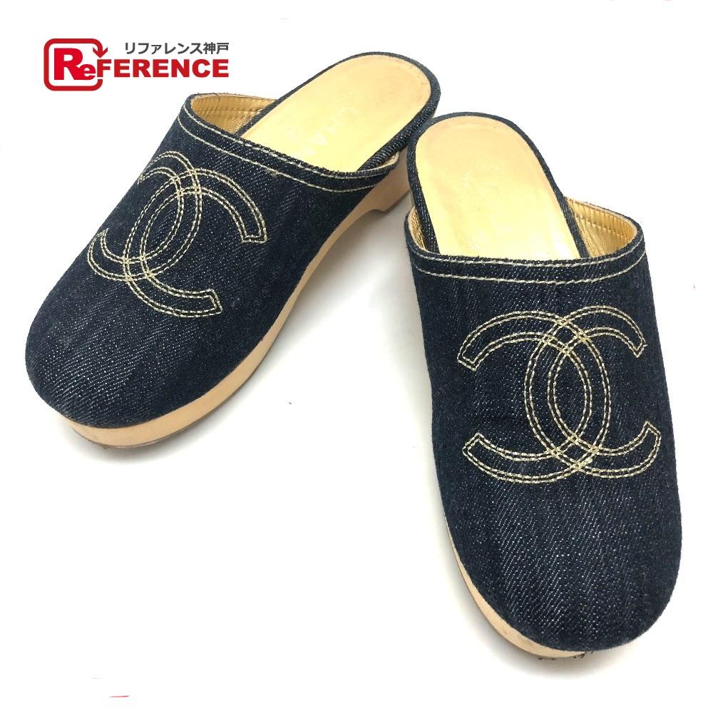 CHANEL シャネル サボ サンダル 靴 CC ココマーク デニム デニム/ ブルー レディース【中古】