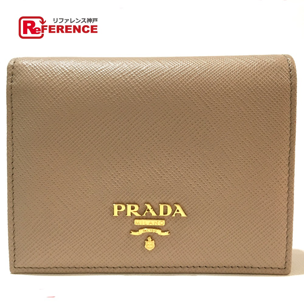 265a45ade775 ... uk authentic prada unused short wallet safiano mens womens bifold wallet  beige leather 1mv204 e2200 fe7a9