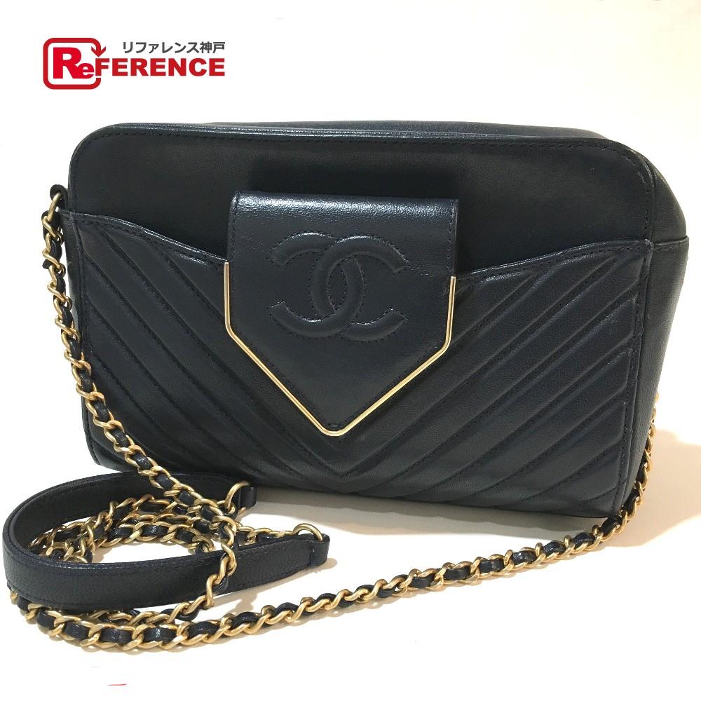 5af53de37e88b CHANEL Chanel chain shoulder V stitch Chevron CC here mark shoulder bag  leather navy Lady s