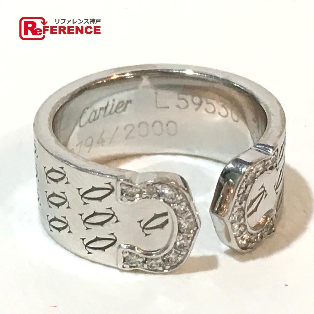 CARTIER カルティエ K18WG リング ハッピーバースデー 2C ダイヤ リング・指輪 K18WG/ダイヤモンド 10号 ホワイトゴールド【中古】