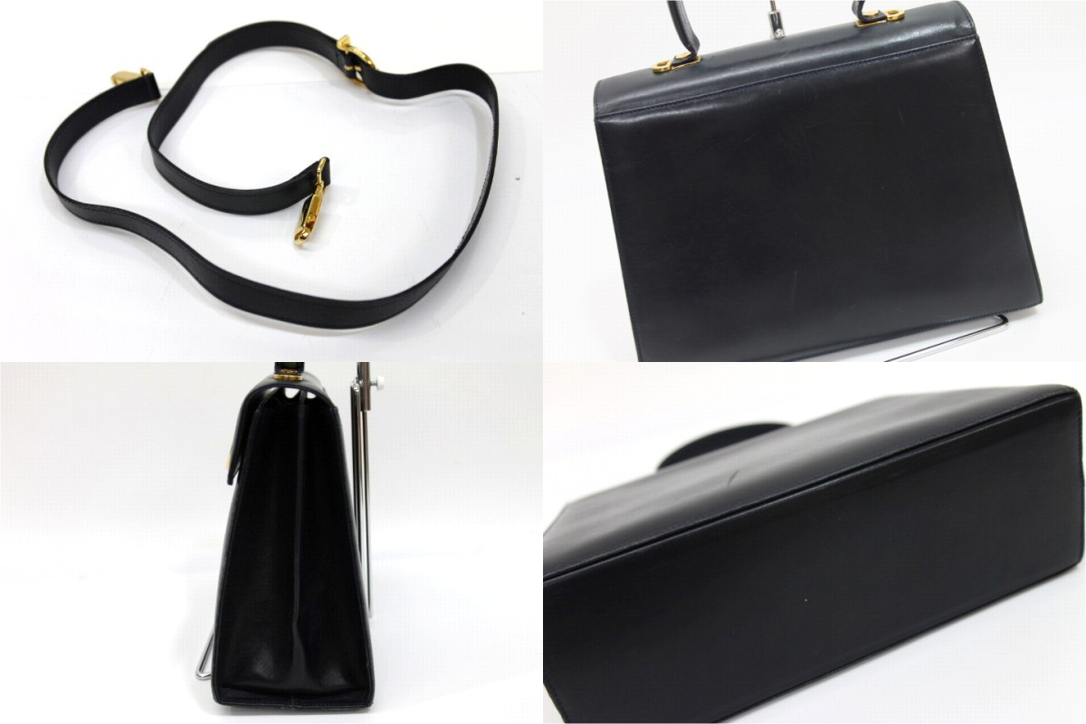 83e30aad22 AUTHENTIC Salvatore Ferragamo Gancini Shoulder Bag Hand Bag 2way bag Dark navy  Leather