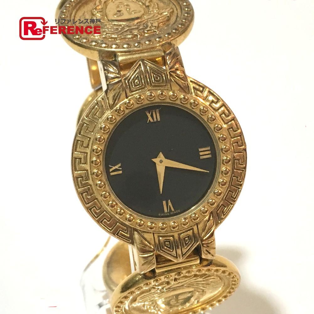 Gianni Versace ジャンニ・ヴェルサーチ メンズ腕時計 レディース腕時計 メデューサ コインモチーフ 腕時計 GP ゴールド【中古】