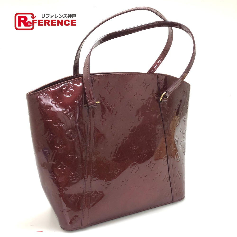 Authentic Louis Vuitton Monogram Vernis Avalon Gm Shoulder Bag Tote Wine Redbased Patent Leather