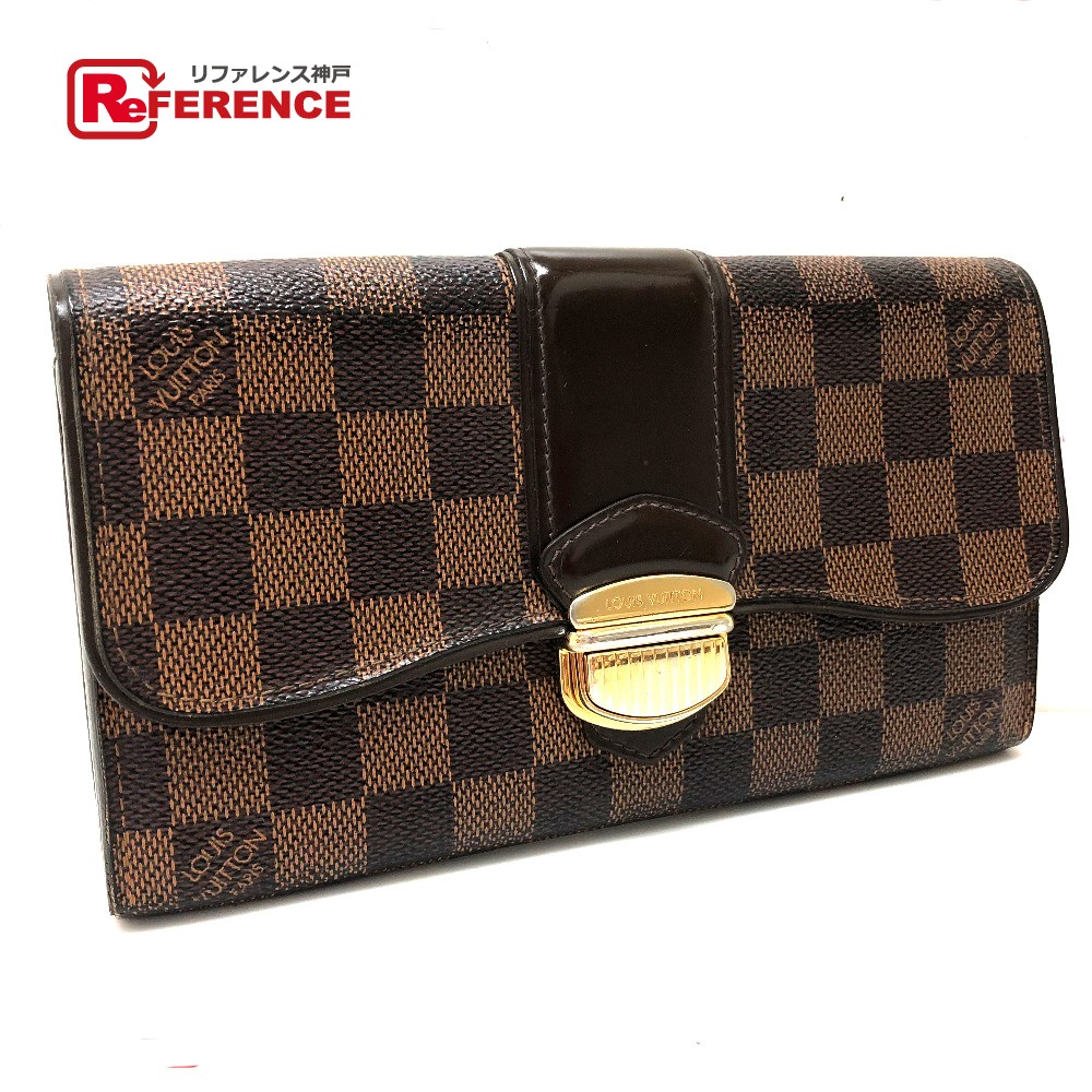 dd034afff5f4 AUTHENTIC LOUIS VUITTON Damier Portefeuille-Sistina Bifold Long Wallet with  zipper Long Wallet (with Coin Compartment) Brown DamierCanvas N61747