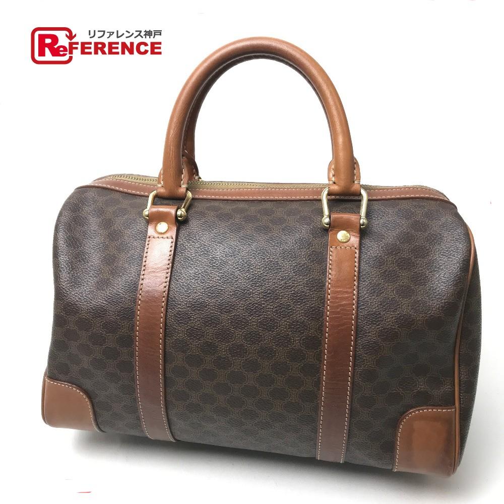 36859bc5ccc7 CELINE Celine mini-Boston bag macadam vintage handbag PVCx leather   brown