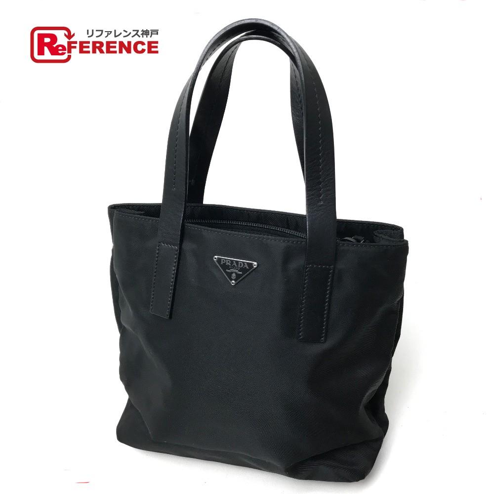 d48853d4dc5e ... netherlands authentic prada gobelate tote bag mini bag hand bag black  nylon x leather bn0326 fc1a4 ...