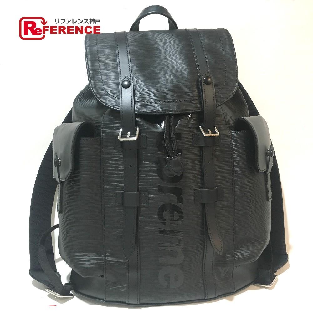 6a6ca2e396d0 AUTHENTIC LOUIS VUITTON Louis Vuitton x Supreme Epi Christopher PM backpack  17aw Supreme Louis Vuitton Backpack-Bag Black Black Epi Leather M53413
