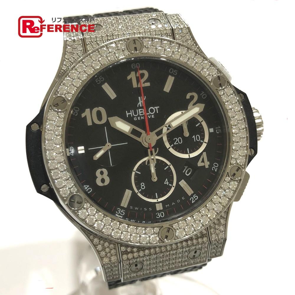 HUBLOT ウブロ 301.SX.130.RX.174 メンズ腕時計 裏スケ ビッグバン クロノグラフ 純正ダイヤベゼル ラグダイヤ 腕時計 SS/ラバー シルバー メンズ【中古】