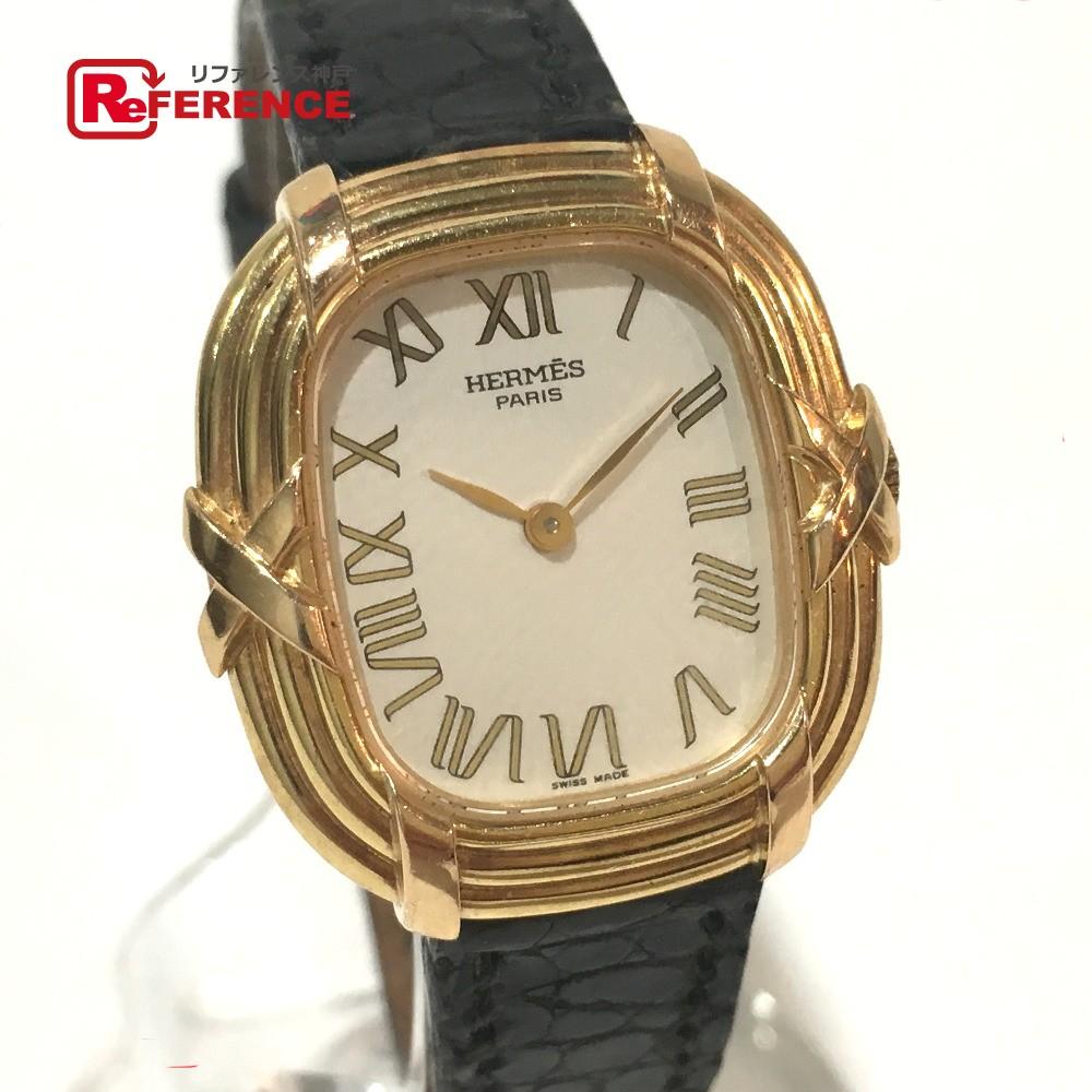 HERMES エルメス レディース腕時計 フォーブル 腕時計 K18YG/クロコ革ベルト イエローゴールド レディース【中古】