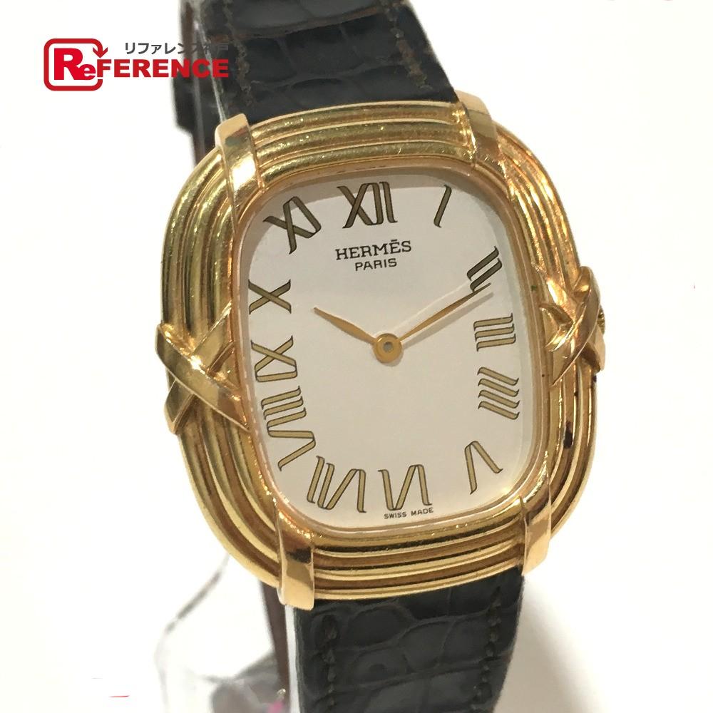 HERMES エルメス メンズ腕時計 フォーブル 腕時計 K18YG/クロコ革ベルト イエローゴールド メンズ【中古】