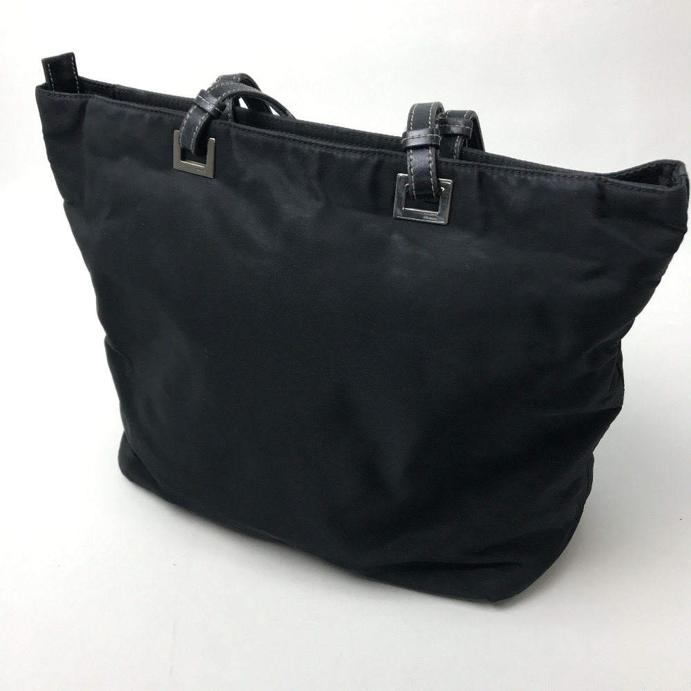 916f7f2ae58f ... official prada prada tote bag logo plate shoulder bag nylon leather  black ladys 91c19 38bb7
