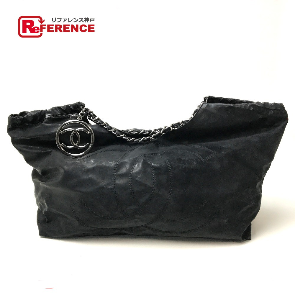 2bf811e98c5d AUTHENTIC CHANEL Coco Cabas PM Shawls ChainShoulder Bag Tote Bag Black  Patent Leather ...