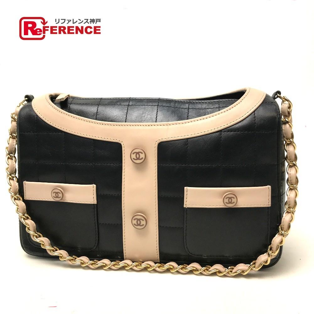 46c8850631157a AUTHENTIC CHANEL Chocolate bar Jacket motif Shawls ChainShoulder Bag  Shoulder Bag Black/Pink Beige Calf ...