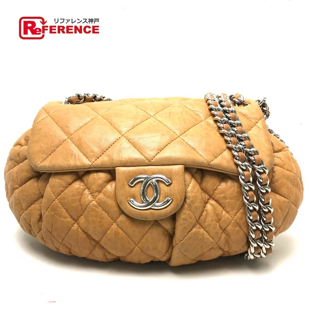 589cea68f678 AUTHENTIC CHANEL Matelasse Chain Around ChainShoulder Bag Shoulder Bag  Caramel Brown Lambskin Leather A49889