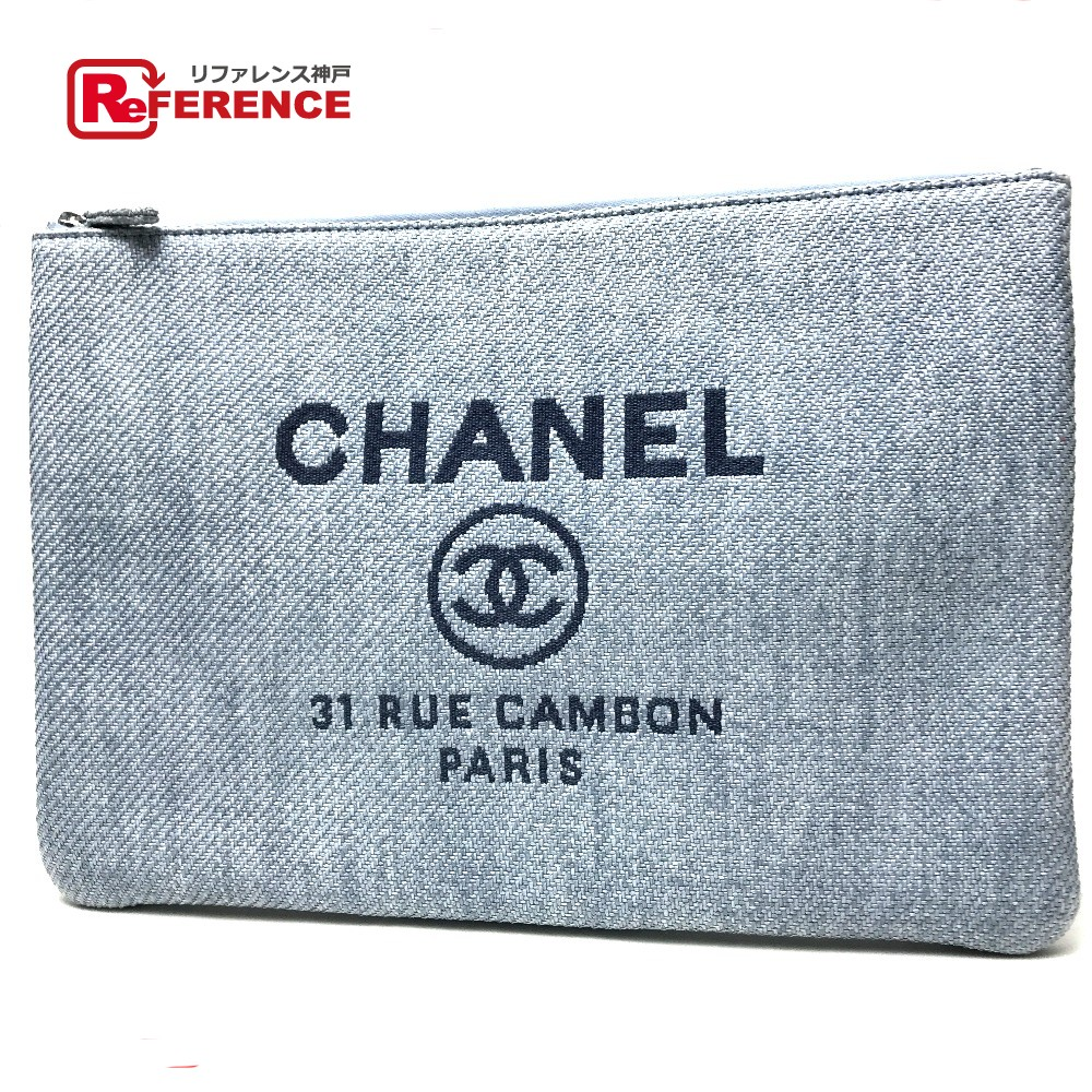 cd908bea3a32 AUTHENTIC CHANEL Unused Deauville Logo Canvas CC Mark Cluch Bag Clutch bag  sky blue straw A80117 ...