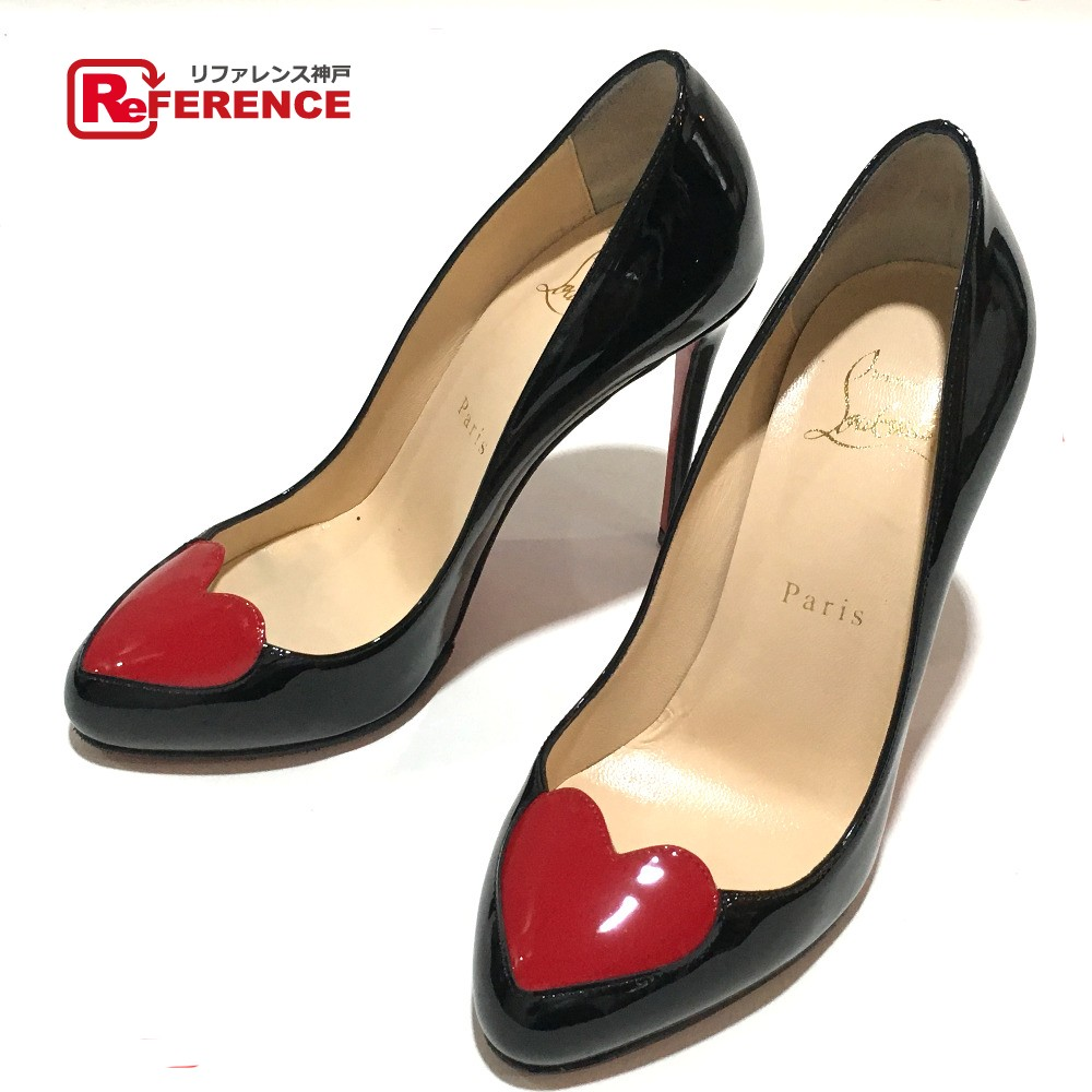 10f418ac6570 Christian Louboutin クリスチャンルブタン shoes heart Valentine-limited high-heeled  shoes pumps enamel black x red Lady s mint condition