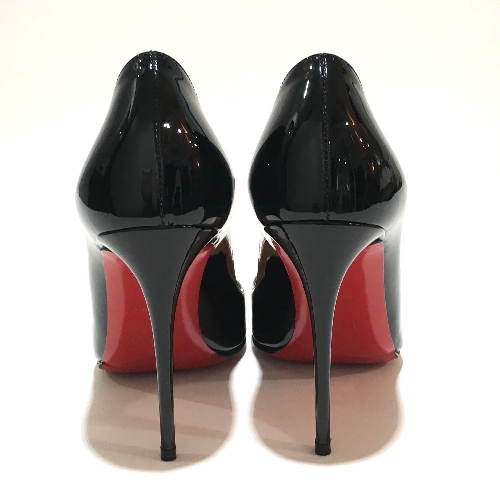 Christian Louboutin クリスチャンルブタン shoes heart Valentine limited high heeled shoes pumps enamel black x red Lady's mint condition