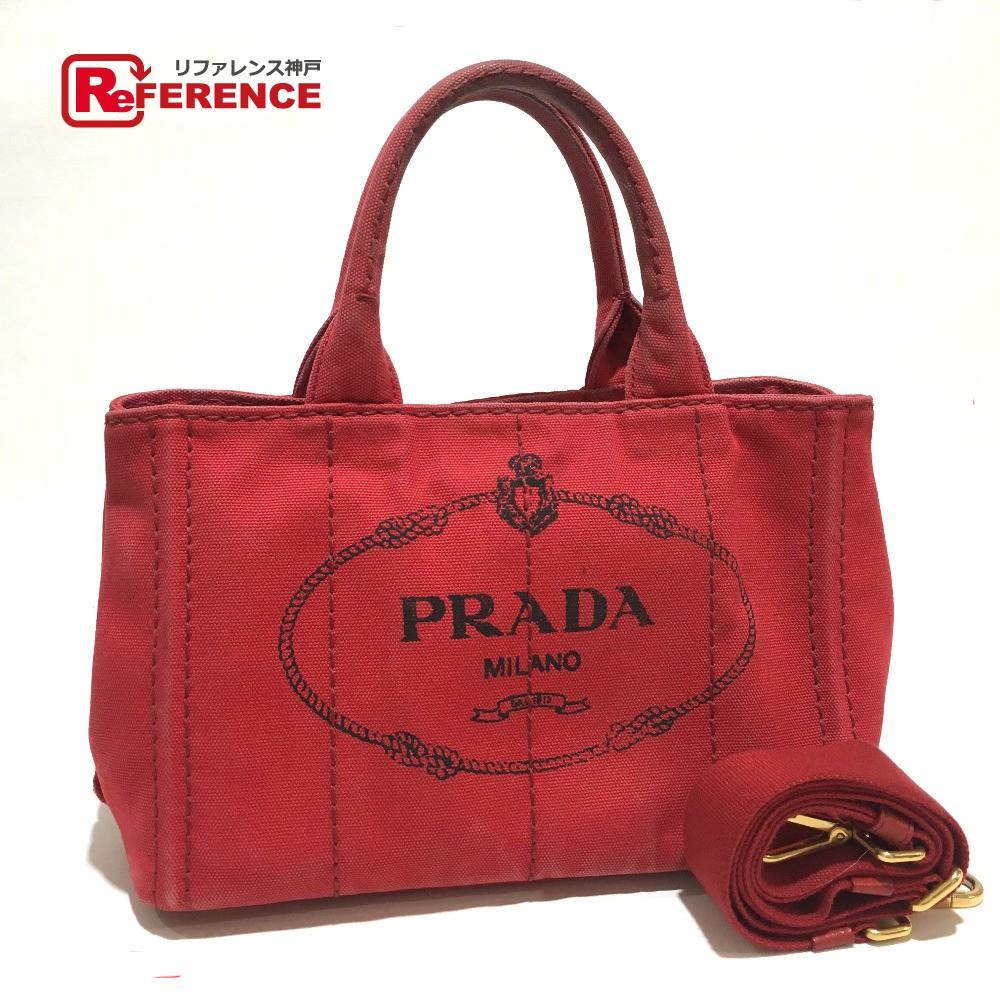 PRADA プラダ B2439G 2way カナパ TPM ショルダーバッグ ハンドバッグ キャンバス 赤 レディース【中古】