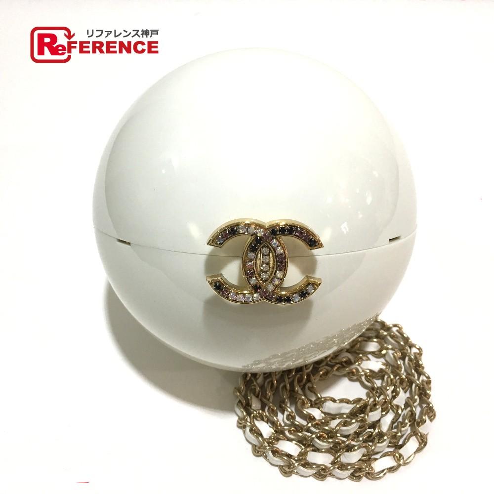 CHANEL シャネル チェーンショルダー ボール型 CC ココマーク ショルダーバッグ ラインストーン / プラスチック ホワイト×ゴールド金具 レディース 未使用【中古】