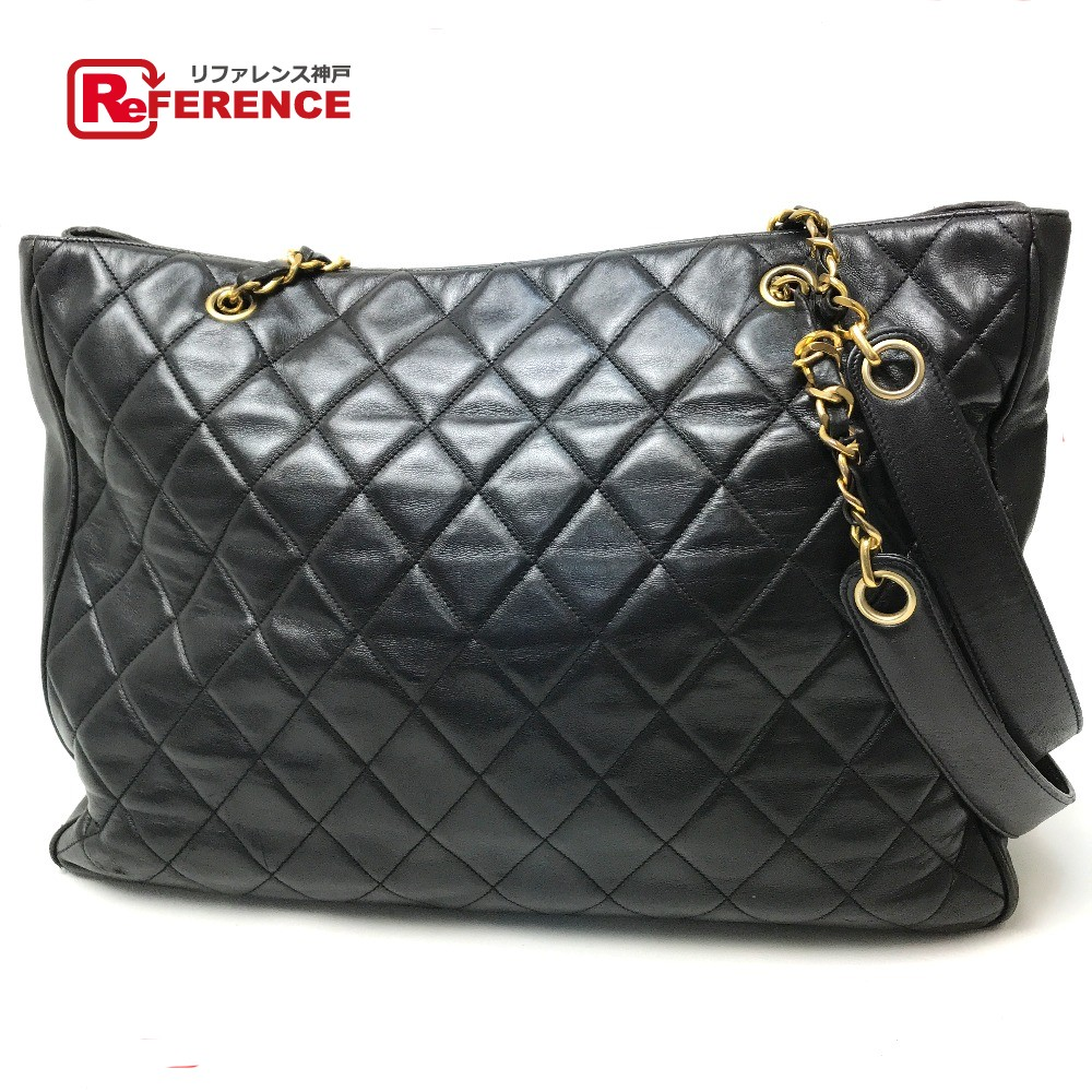 c8910e308ef2 AUTHENTIC CHANEL Quilted Matelasse ChainShoulder Bag Shoulder Bag  Black/GoldHardware Lambskin Leather