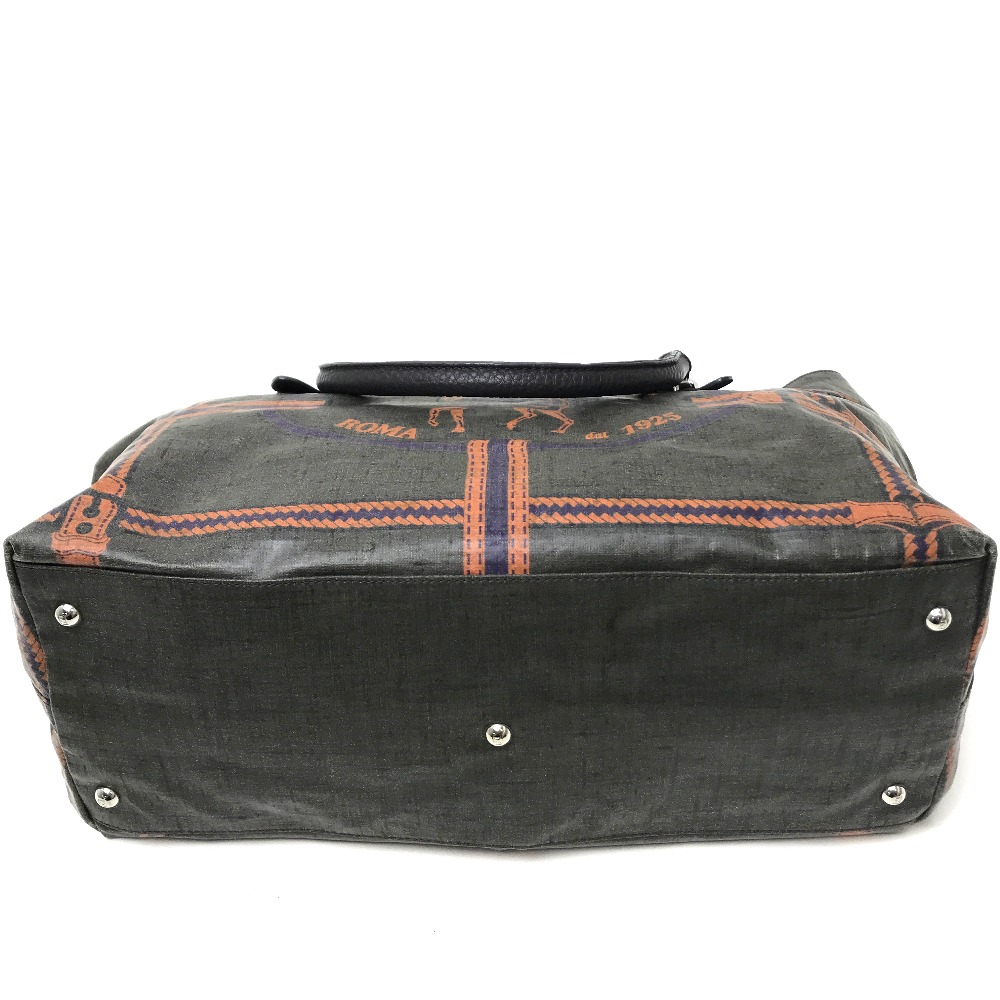 62b90cb2a9 AUTHENTIC FENDI Selleria Men s Women s Hand Bag Tote Bag Kharki Based  Coating Canvas Leather 8BN156