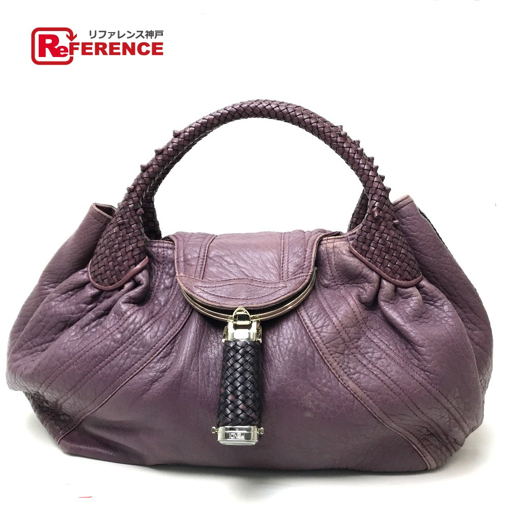 c33fa4a09671 AUTHENTIC FENDI Bolsa Spy bag Tote Bag Hand Bag Purple series Nappa Leather  8BR511