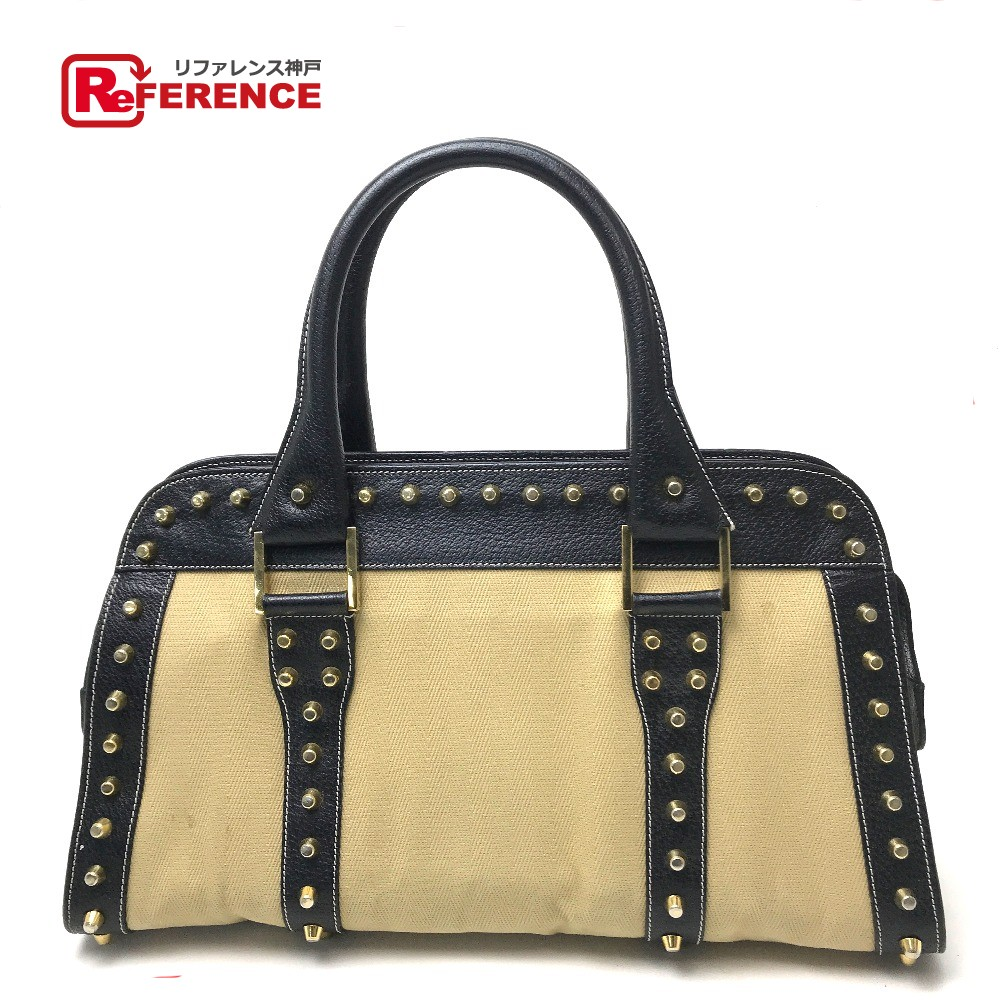 1d28d662b483 AUTHENTIC FENDI Selleria Studs design Shoulder Shoulder Bag Hand Bag Beige  series Black Leather