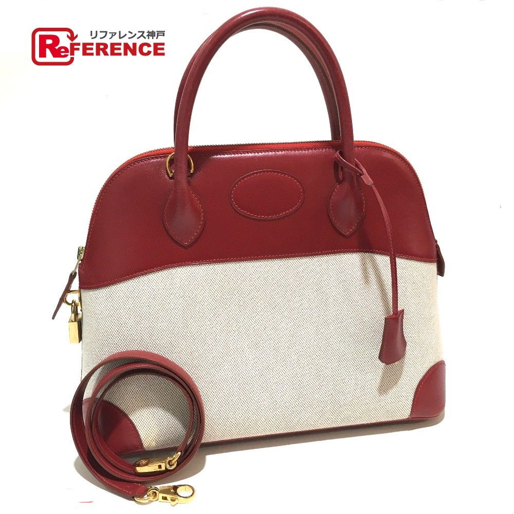 4125b292b7 AUTHENTIC HERMES Bolide 31 Shoulder Bag Hand Bag 2way bag Red natural Toile  H Calf Leather