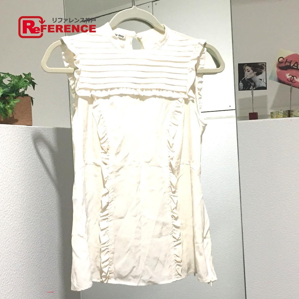 MIUMIU ミュウミュウ アパレル シルク シャツ タグ有 ホワイト レディース【中古】