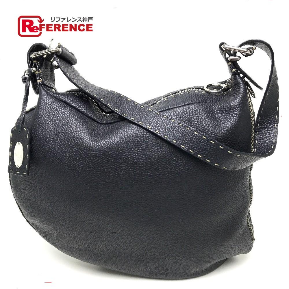 4b8ffeac85 AUTHENTIC FENDI Selleria Shoulder Shoulder Bag Shoulder Bag Black Leather  ...