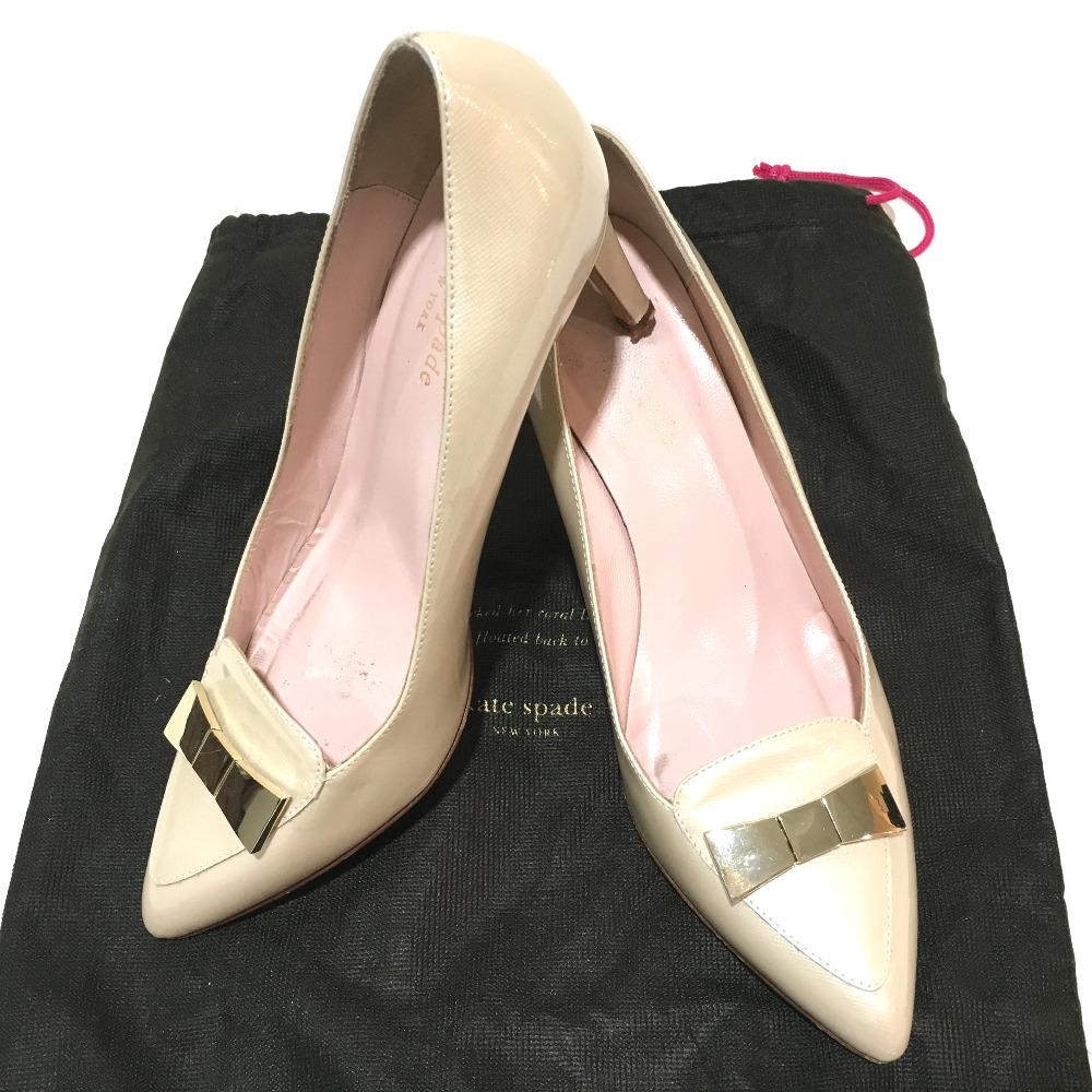 39f69d6afea6 AUTHENTIC Kate Spade High heels Ribbon motif shoes pumps Ivory enamel 6.5