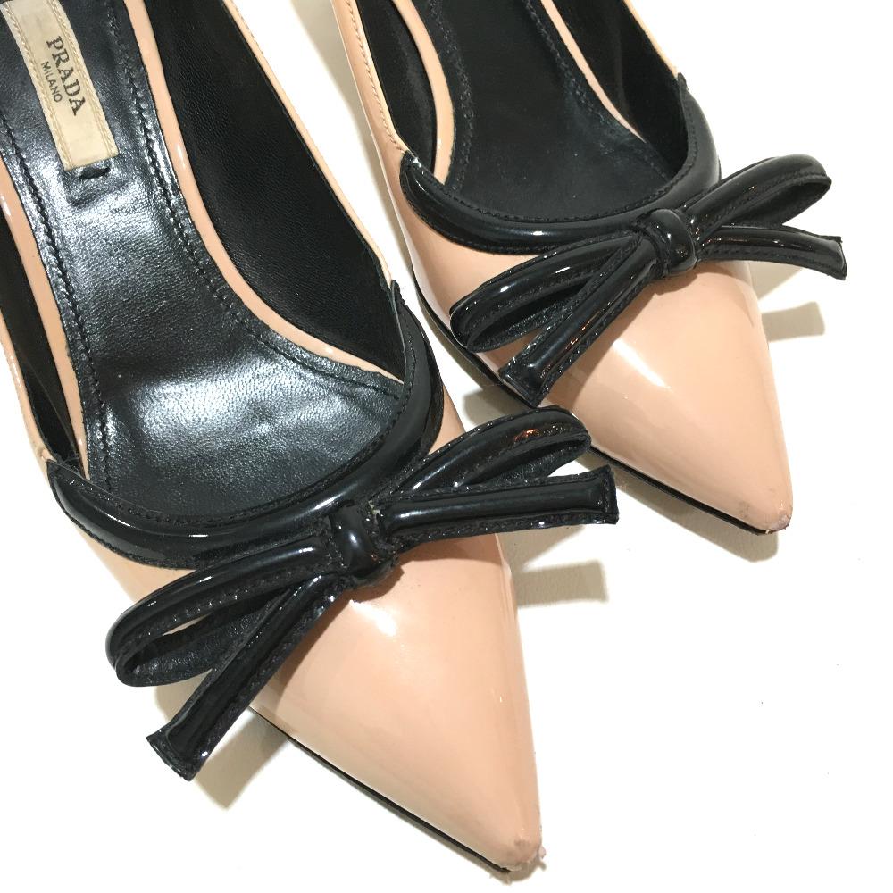 9ac86580b ... AUTHENTIC PRADA High heels Ribbon motif shoes pumps Beige x Black  enamel 5 ...