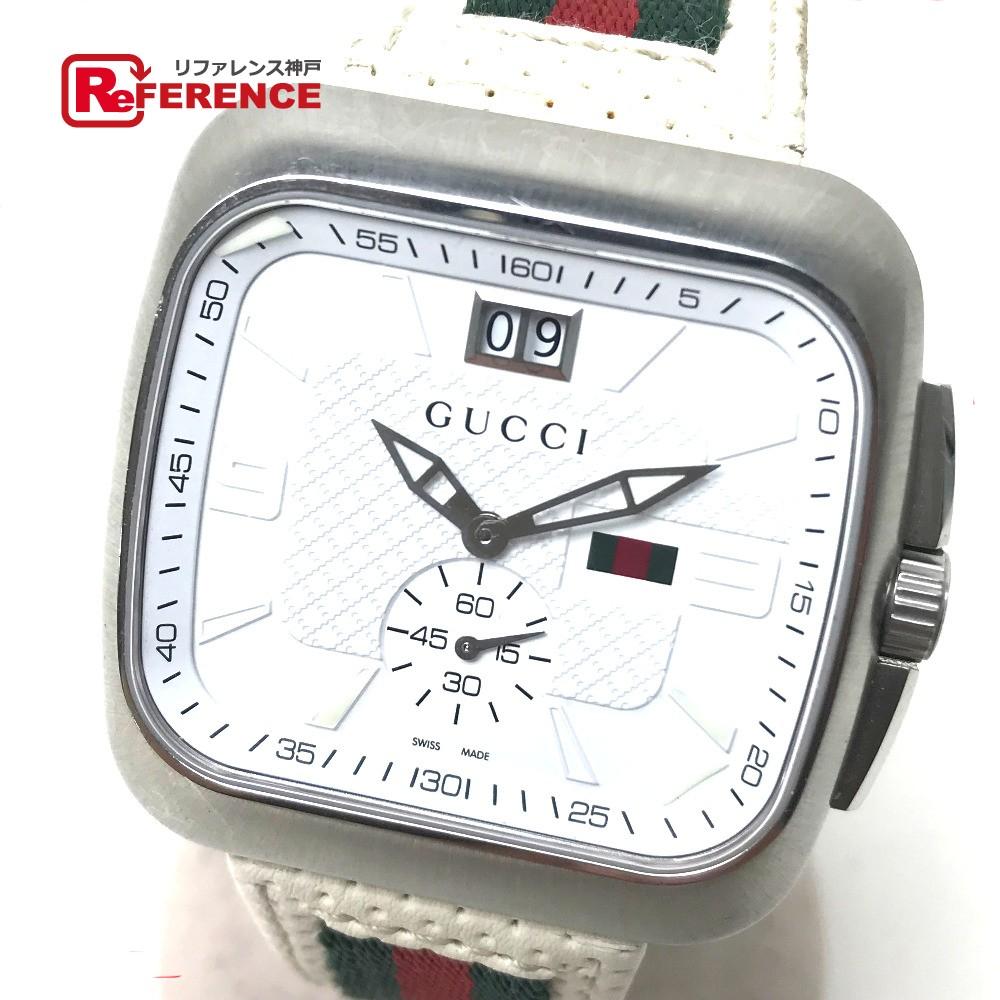 GUCCI グッチ YA131303 メンズ腕時計 クーペ ビッグデイト 131.3 ウェビングラインベルト 腕時計 SS/革(レザー) ホワイト メンズ【中古】