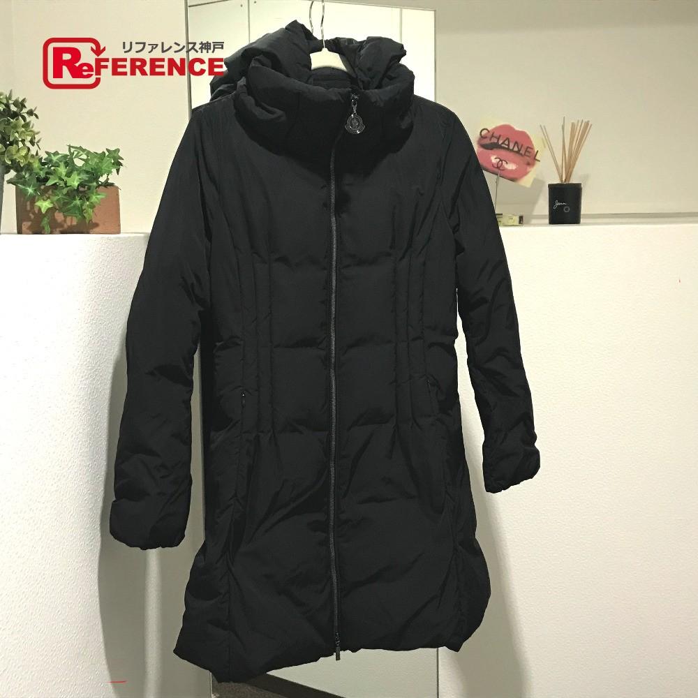 MONCLER モンクレール ロングコート RENNE レンヌ フード付 タグ有 ダウンジャケット ブラック レディース【中古】