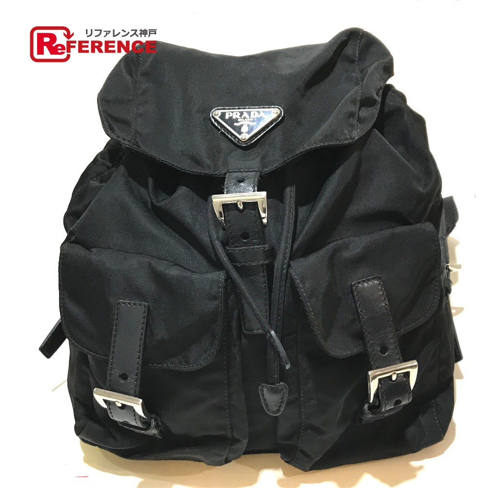 BRANDSHOP REFERENCE  PRADA Prada B6677 backpack rucksack logo plate  rucksack day pack nylon X leather black Lady s  cb42052a22d7f