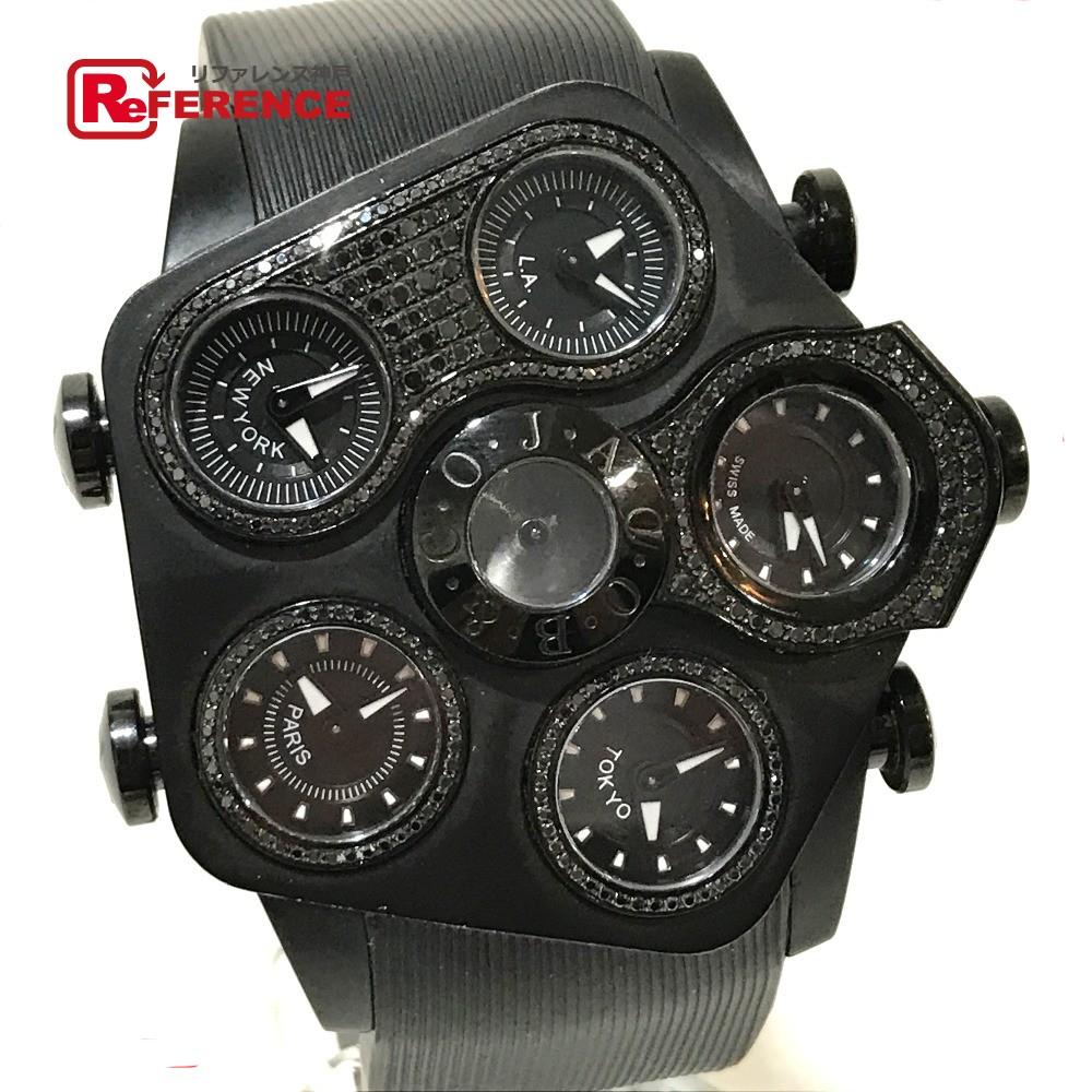 JACOB&CO ジェイコブ JC-GR5 メンズ腕時計 G5 グランド ファイブタイムゾーン ブラックダイヤモンド 腕時計 PVD/ラバーベルト ブラック メンズ【中古】