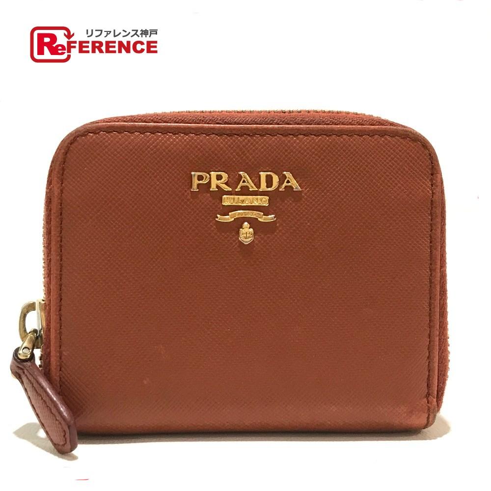 PRADA プラダ 1M0268 キーケース サフィアーノ ファスナー コインケース レザー 赤茶 レディース【中古】