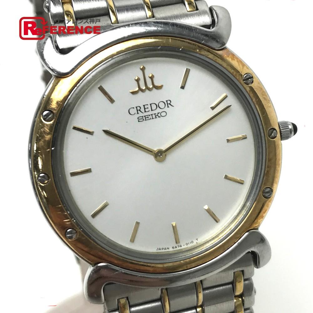 SEIKO セイコー 5A74-0050 メンズ腕時計 クレドール リネアクルバ 腕時計 SS/GP/18KTベゼル シルバー メンズ【中古】