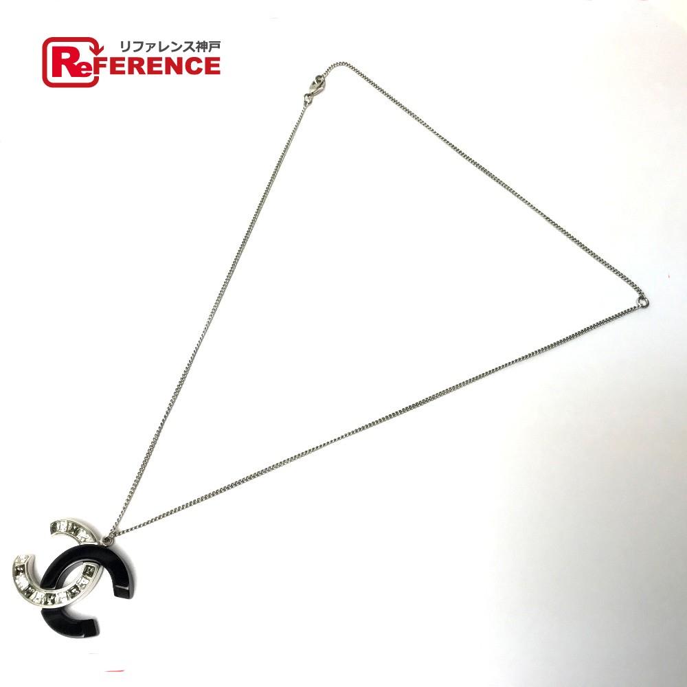 CHANEL シャネル ペンダント アクセサリー CC ラインストーン バイカラー B18B ネックレス メタル/プラスチック ブラック レディース【中古】