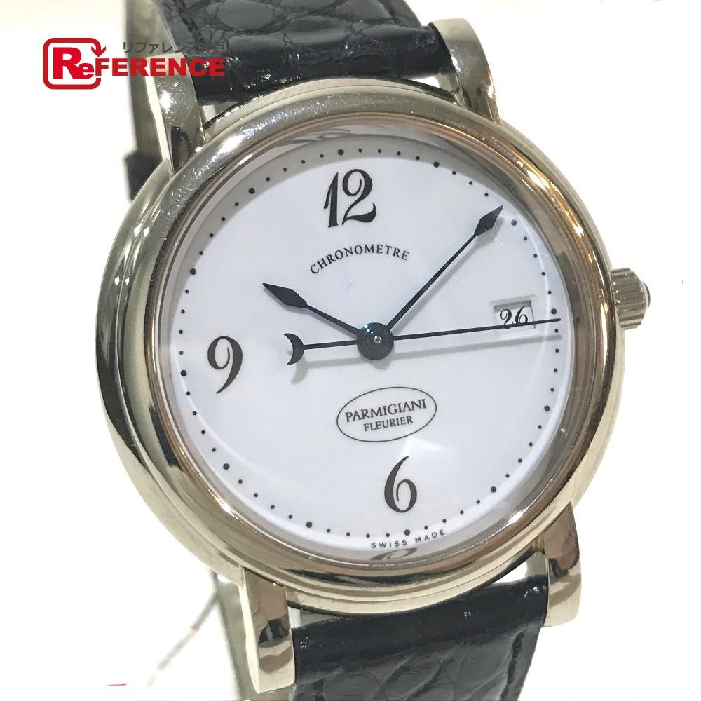 PARMIGIANI FLEURIER パルミジャーニ・フルリエ C04442 メンズ腕時計 バジカ デイト 腕時計 K18WG/革ベルト ホワイトゴールド メンズ【中古】