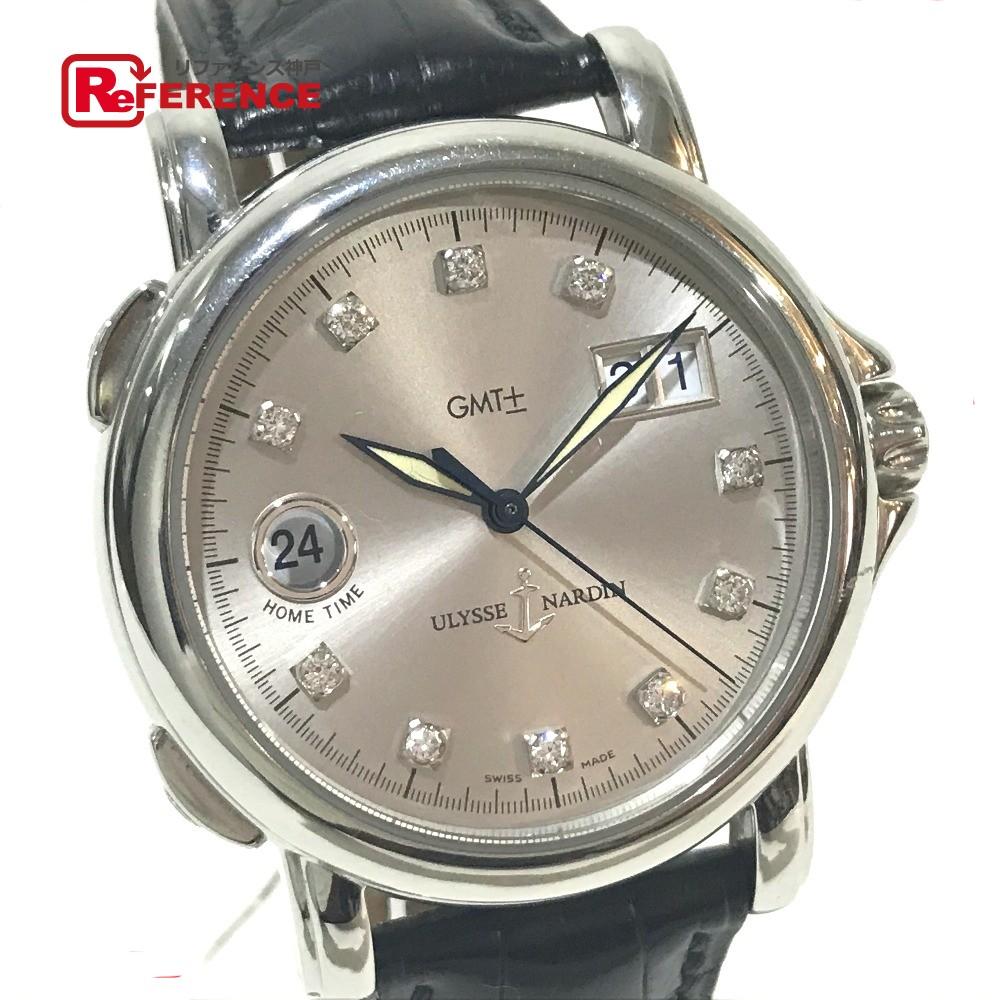 Ulysse Nardin ユリス・ナルダン 223-88 メンズ腕時計 サンマルコGMT ビッグデイト 10Pダイヤ 腕時計 SS/クロコ革ベルト シルバー メンズ【中古】