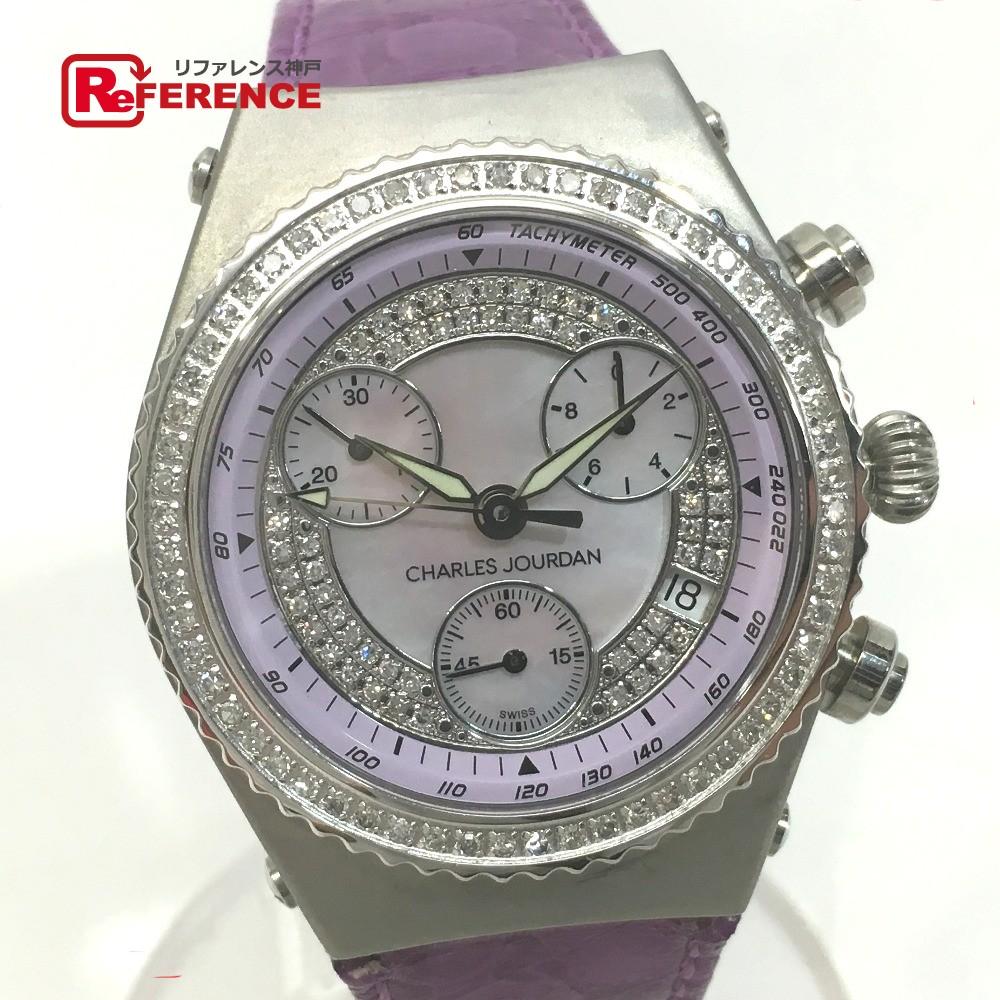CHARLES JOURDAN シャルル・ジョルダン ダイヤベゼル センセイション 腕時計 SS/革/ダイヤモンド レディース【中古】