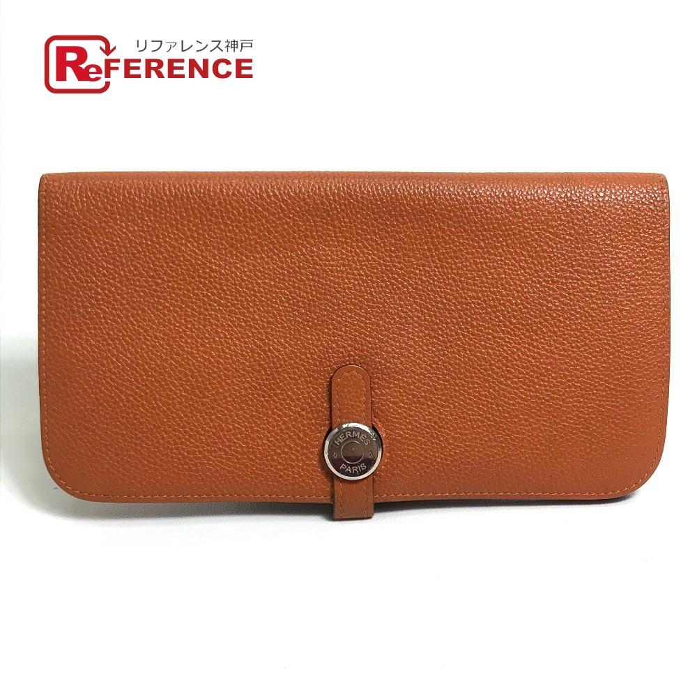 HERMES エルメス 2つ折り長財布 ドゴン ロング 長財布(小銭入れあり) トゴ Orange レディース【中古】