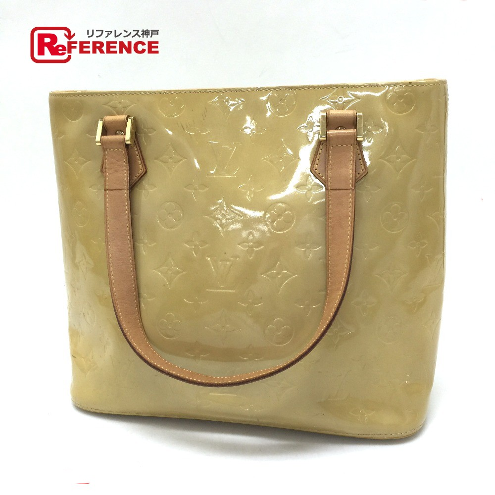 ffc2e69ee7d4 AUTHENTIC LOUIS VUITTON Monogram-Vernis Houston Tote Bag Tote Bag Soft  Beige Patent Leather M91004
